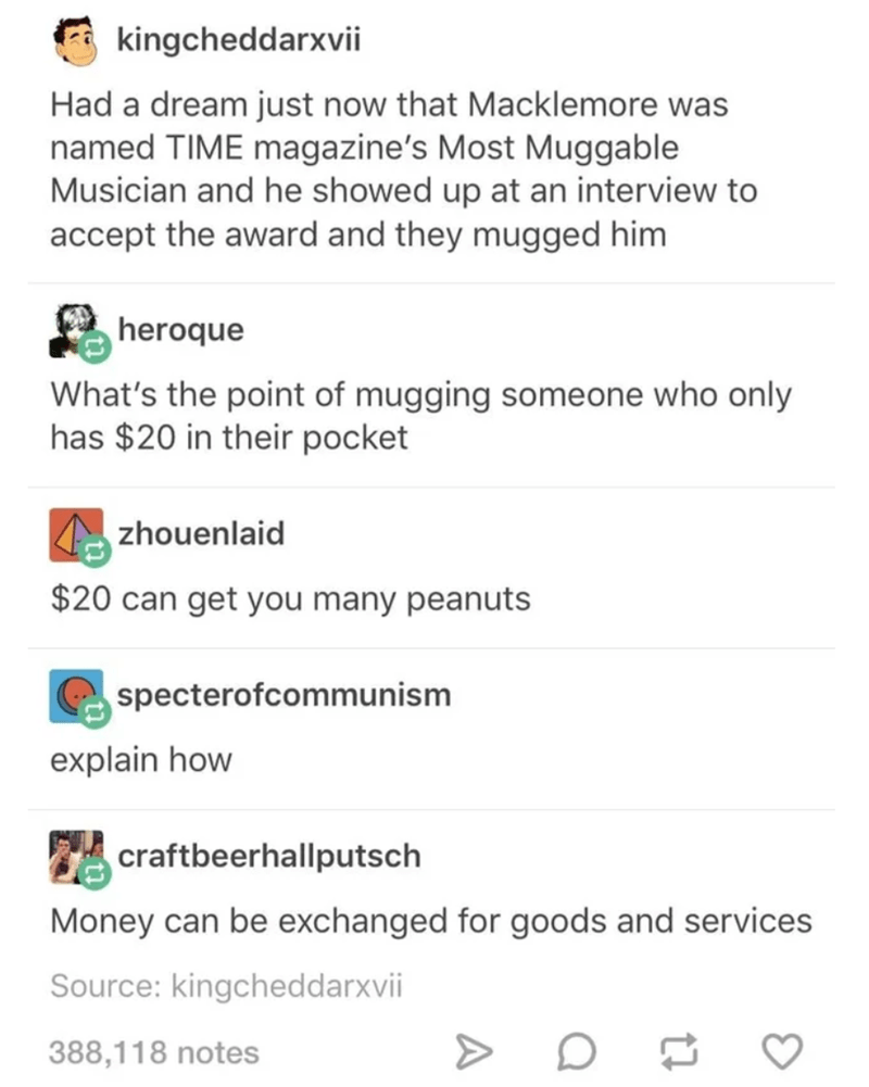 Text - kingcheddarxvii Had a dream just now that Macklemore was named TIME magazine's Most Muggable Musician and he showed up at an interview to accept the award and they mugged him heroque What's the point of mugging someone who only has $20 in their pocket zhouenlaid $20 can get you many peanuts specterofcommunism explain how craftbeerhallputsch Money can be exchanged for goods and services Source: kingcheddarxvii 388,118 notes