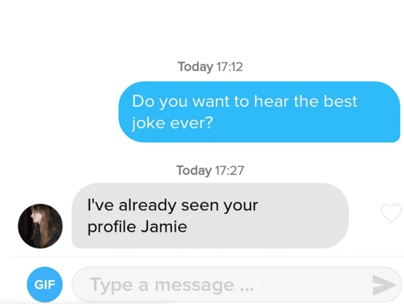 Text - Today 17:12 Do you want to hear the best joke ever? Today 17:27 I've already seen your profile Jamie GIF Type a message.