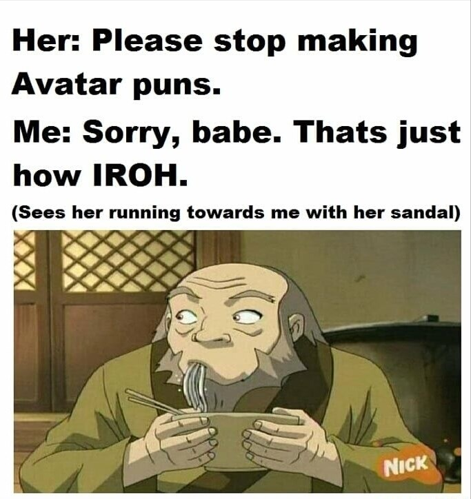 Cartoon - Her: Please stop making Avatar puns. Me: Sorry, babe. Thats just how IROH. (Sees her running towards me with her sandal) NICK