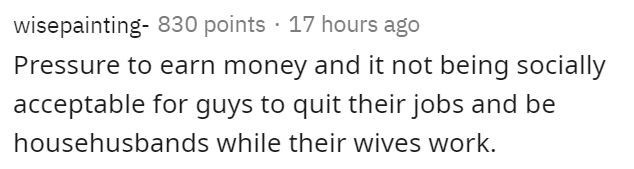 Text - wisepainting- 830 points · 17 hours ago Pressure to earn money and it not being socially acceptable for guys to quit their jobs and be househusbands while their wives work.