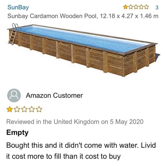 Transport - SunBay Sunbay Cardamon Wooden Pool, 12.18 x 4.27 x 1.46 m Amazon Customer 食☆☆☆☆ Reviewed in the United Kingdom on 5 May 2020 Empty Bought this and it didn't come with water. Livid it cost more to fill than it cost to buy