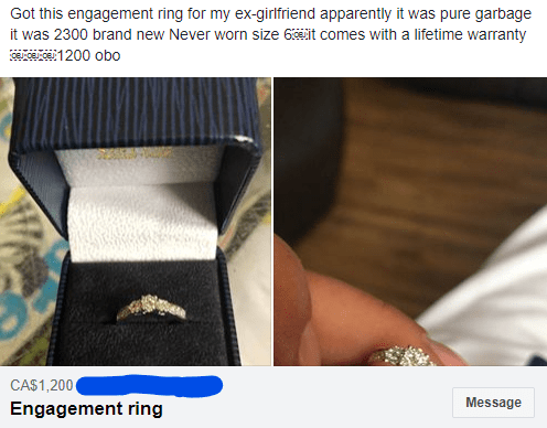 Brand - Got this engagement ring for my ex-girlfriend apparently it was pure garbage it was 2300 brand new Never worn size 6it comes with a lifetime warranty CAS1,200 Message Engagement ring