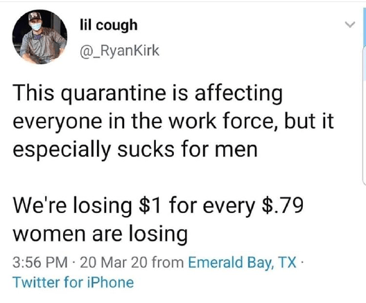 Text - lil cough @_RyanKirk This quarantine is affecting everyone in the work force, but it especially sucks for men We're losing $1 for every $.79 women are losing 3:56 PM 20 Mar 20 from Emerald Bay, TX · Twitter for iPhone