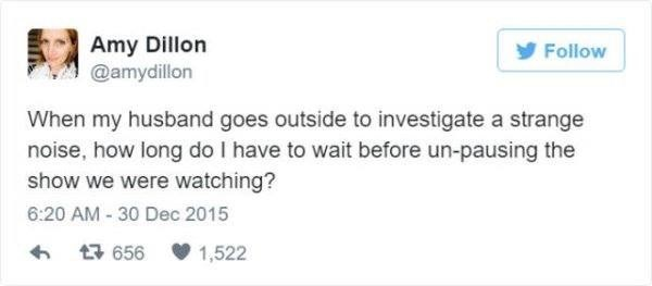Text - Amy Dillon @amydillon y Follow When my husband goes outside to investigate a strange noise, how long do I have to wait before un-pausing the show we were watching? 6:20 AM - 30 Dec 2015 17 656 1,522