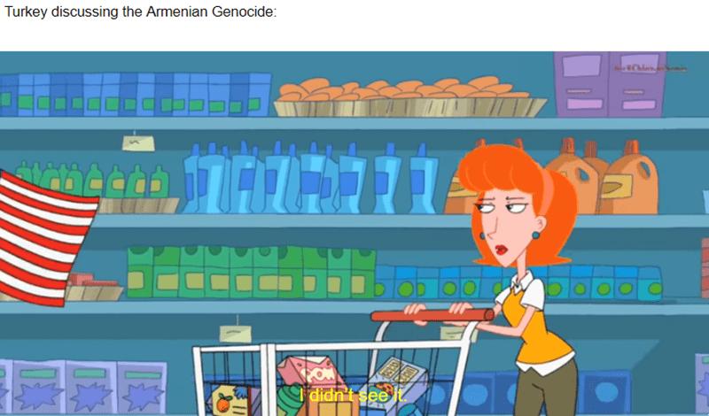Cartoon - Turkey discussing the Armenian Genocide: oobib I didn't see