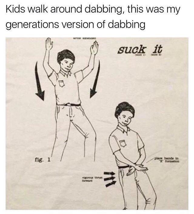 Cartoon - Kids walk around dabbing, this was my generations version of dabbing suck it OW fig. 1 place banda in formaton trward