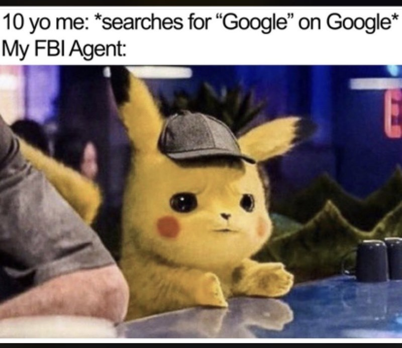 "Cartoon - 10 yo me: *searches for ""Google"" on Google* My FBI Agent:"