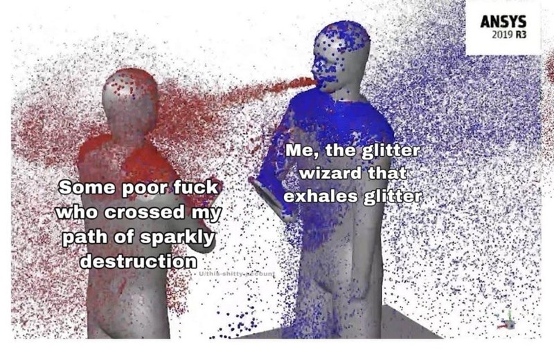 Text - ANSYS 2019 R3 Me, the glitter wizard that exhales glitter. Some poor fuck who crossed my. path of sparkly destruction U/this-sh eabun