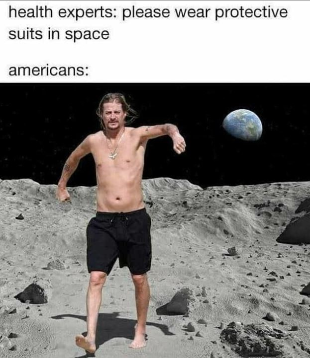 Barechested - health experts: please wear protective suits in space americans: