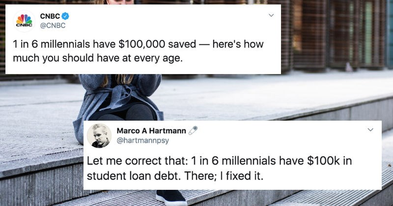 Twitter users react to a survey that says 1 in 6 millennials have $100K in savings.