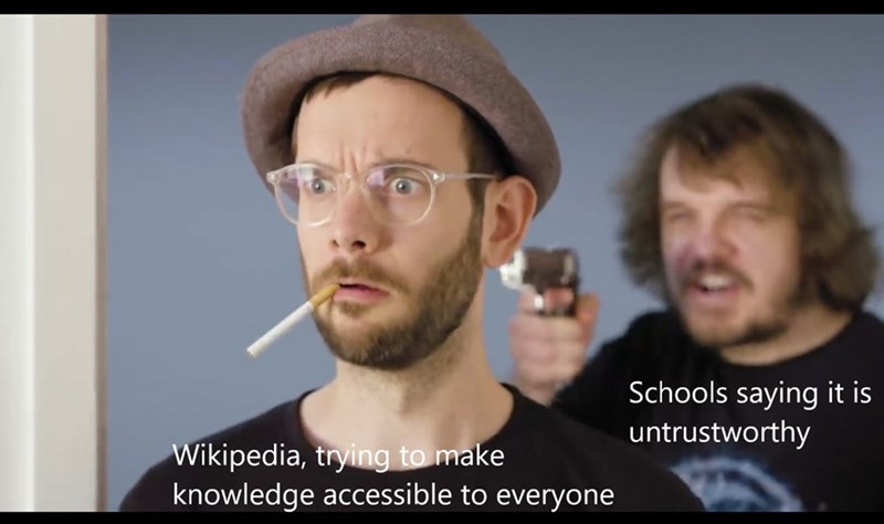 Face - Schools saying it is untrustworthy Wikipedia, trying to make knowledge accessible to everyone