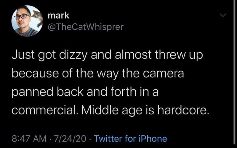Text - mark @TheCatWhisprer Just got dizzy and almost threw up because of the way the camera panned back and forth in a commercial. Middle age is hardcore. 8:47 AM · 7/24/20 · Twitter for iPhone