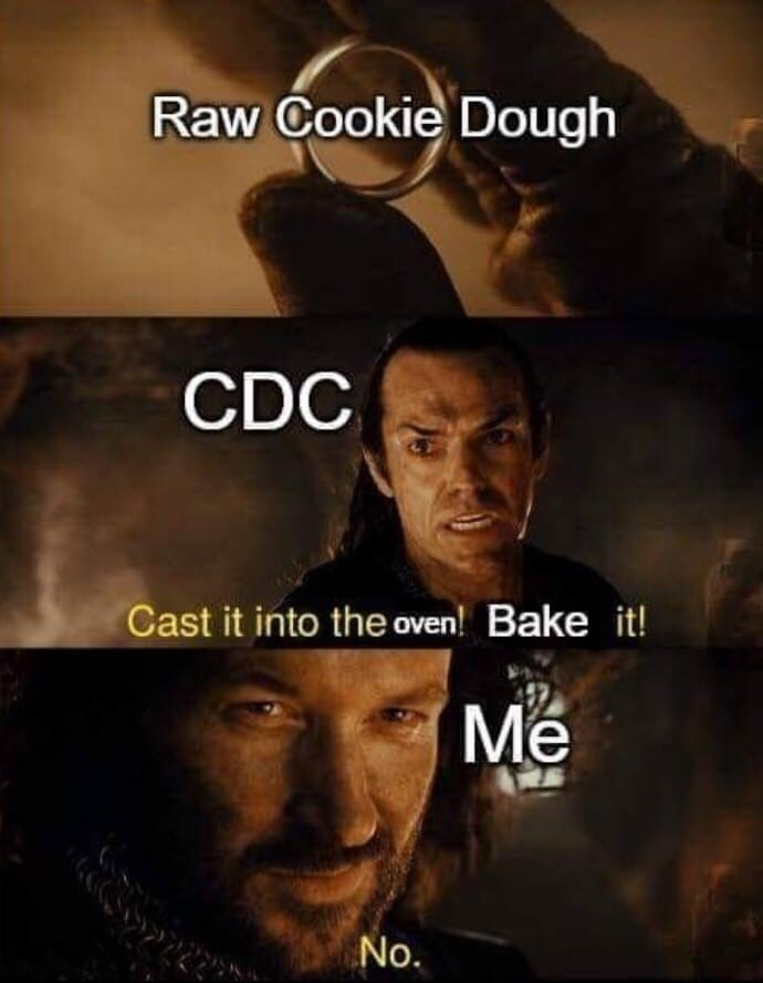 Funny Lord of the Rings Elrond meme about eating raw cookie dough and the CDC advising against doing that | Raw Cookie Dough CDC Cast it into the oven! Bake it! Me No