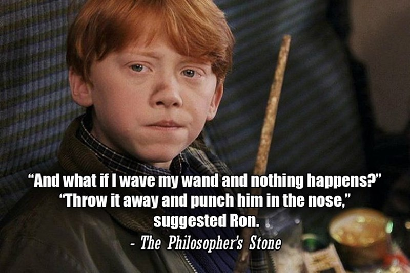 """Photo caption - """"And what if I wave my wand and nothing happens?"""" """"Throw it away and punch him in the nose,"""" suggested Ron. - The Philosopher's Stone"""