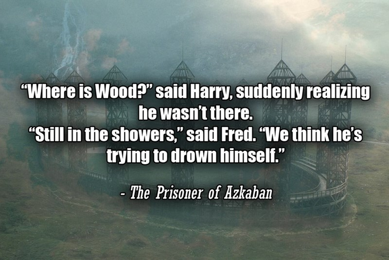 """Text - """"Where is Wood?"""" said Harry, suddenly realizing he wasn't there. """"Still in the showers,"""" said Fred. """"We think he's trying to drown himself."""" - The Prisoner of Azkaban"""