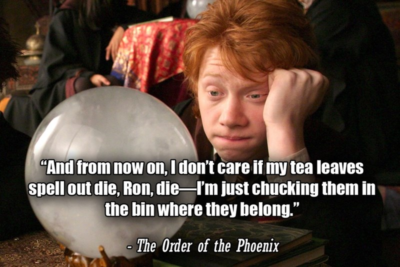 """Photo caption - """"And from now on, I don't care if my tea leaves spell out die, Ron, die-I'm just chucking them in the bin where they belong."""" The Order of the Phoenix"""
