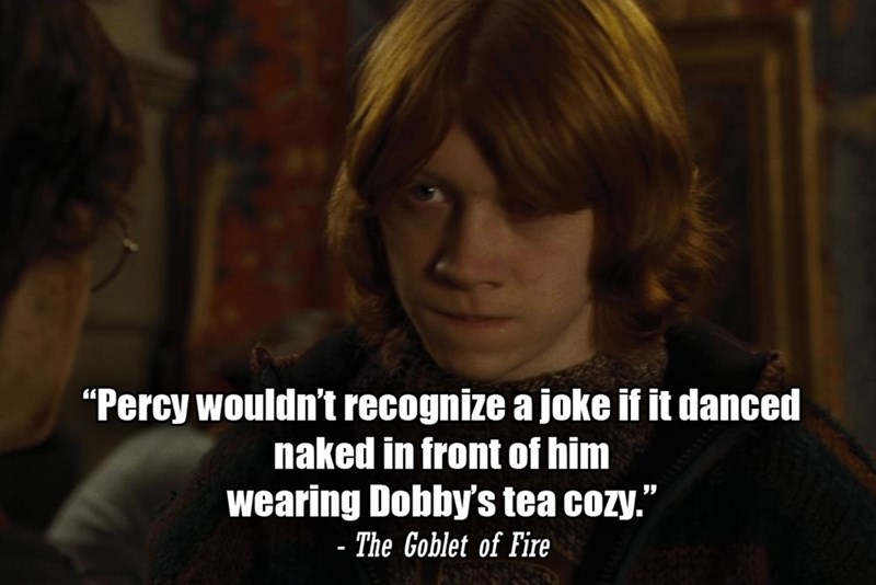 """Text - """"Percy wouldn't recognize a joke if it danced naked in front of him wearing Dobby's tea cozy."""" - The Goblet of Fire"""