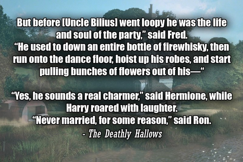 """Text - But before (Uncle Biliusl went loopy he was the life and soul of the party,"""" said Fred. """"He used to down an entire bottle of firewhisky, then run onto the dance floor, hoist up his robes, and start pulling bunches of flowers out of his-"""" """"Yes, he sounds a real charmer,"""" said Hermione, while Harry roared with laughter. """"Never married, for some reason,"""" said Ron. - The Deathly Hallows"""