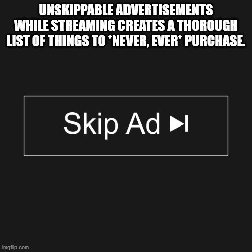 Text - Text - UNSKIPPABLE ADVERTISEMENTS WHILE STREAMING CREATES A THOROUGH LIST OF THINGS TO *NEVER, EVER PURCHASE. Skip Ad ►l imgflip.com