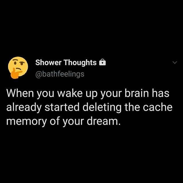 Text - Text - Shower Thoughts Ô @bathfeelings When you wake up your brain has already started deleting the cache memory of your dream.