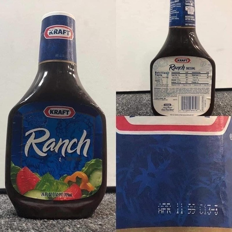 Bottle - LIV TWOTE REFRIL AFTER S KRAFT KRAFT Ranch MESSING Nutrition Facts Sev S2 te 2 Sags 24 alates 10 Tata at Fer Jugars t hatele 15% Chulet g Indom 2 CONER G Fnet KRAFT Ranch 24 FLOZ (1/2 PT) 109MLL