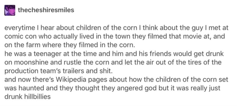 Text - thecheshiresmiles everytime I hear about children of the corn I think about the guy I met at comic con who actually lived in the town they filmed that movie at, and on the farm where they filmed in the corn. he was a teenager at the time and him and his friends would get drunk on moonshine and rustle the corn and let the air out of the tires of the production team's trailers and shit. and now there's Wikipedia pages about how the children of the corn set was haunted and they thought they