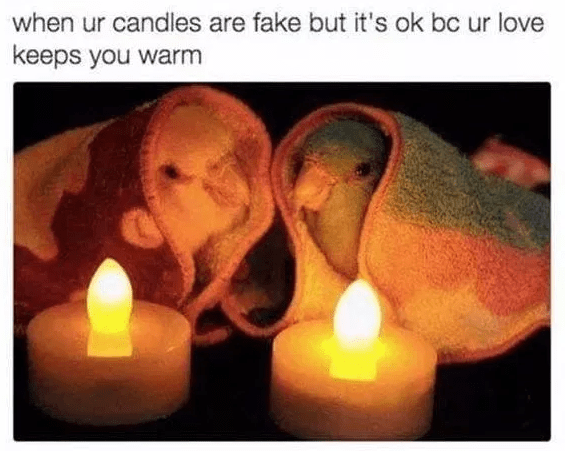 Lighting - when ur candles are fake but it's ok bc ur love keeps you warm
