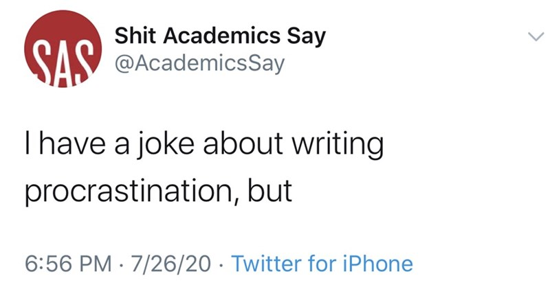 Text - SAS Shit Academics Say @AcademicsSay I have a joke about writing procrastination, but 6:56 PM · 7/26/20 · Twitter for iPhone