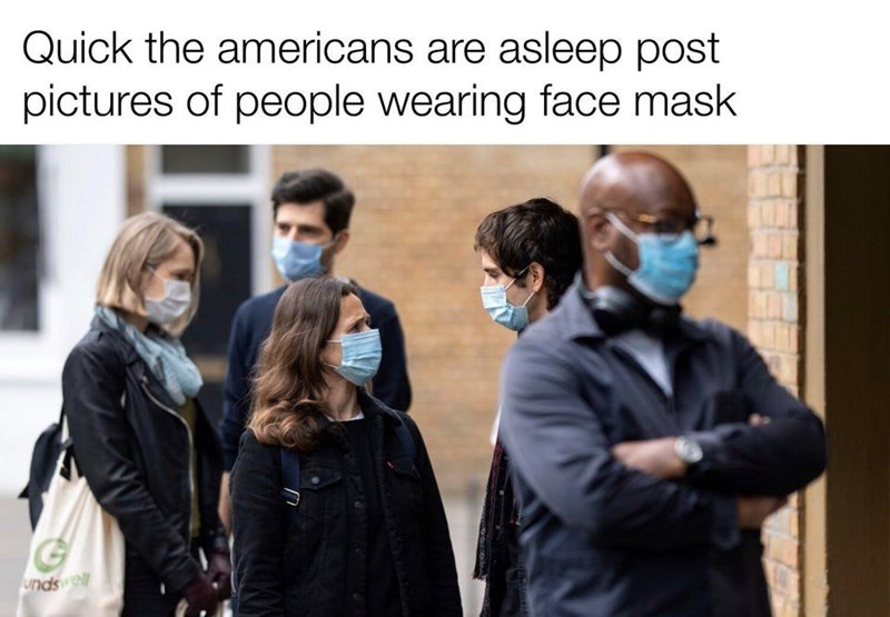 Product - Quick the americans are asleep post pictures of people wearing face mask unds ell