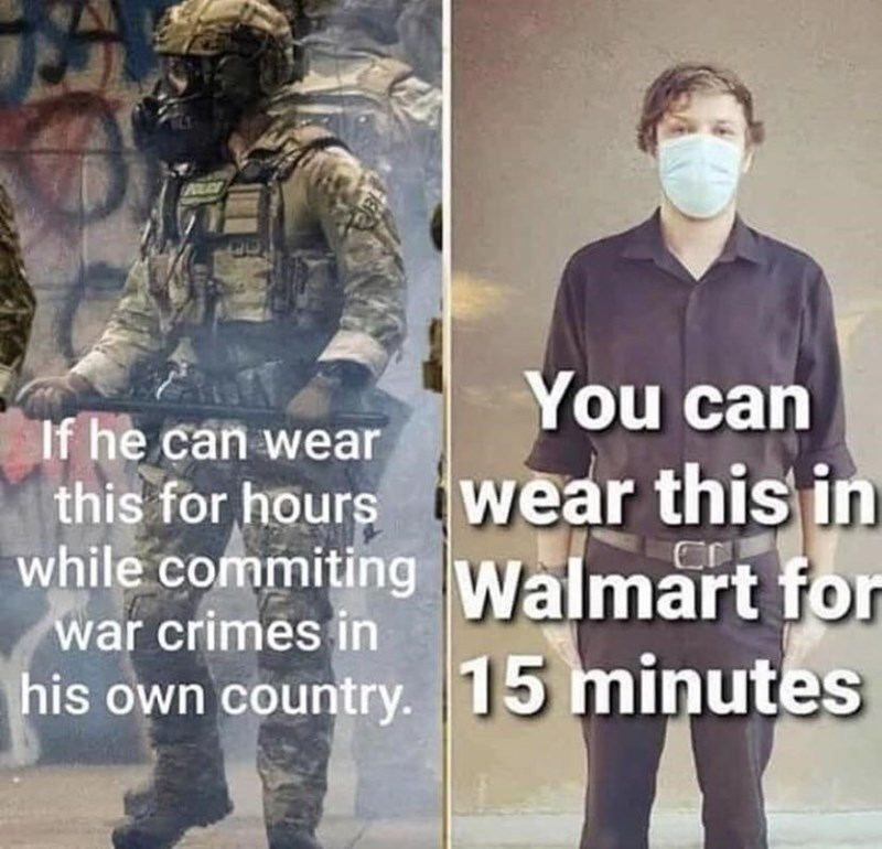 Text - AILAT You can If he can wear this for hours wear this in while commiting Walmart for war crimes in his own country. 15 minutes