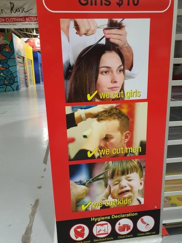 Hair coloring - Roe Studi EN CLOTHING ALTERA Morley WA O3 Contact Nuer 0 WAY Vwe cut girls we cut men we cutkids Hygiene Declaration Clean after cut Clean hand nock towel Sterilized tools