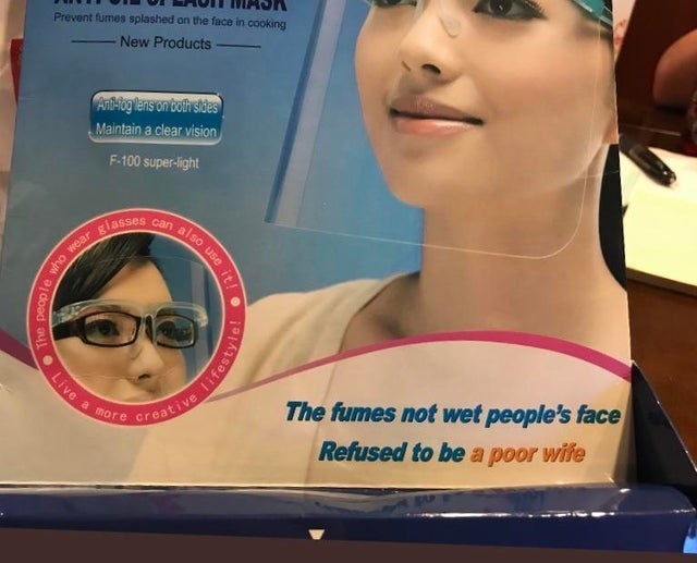 Face - Prevent fumes splashed on the face in cooking New Products Ant-iog lens on both stdes Maintain a clear vision F-100 super-light nalso use it giasses The fumes not wet people's face Refused to be a poor wife a more Creative The people Live lifestyle