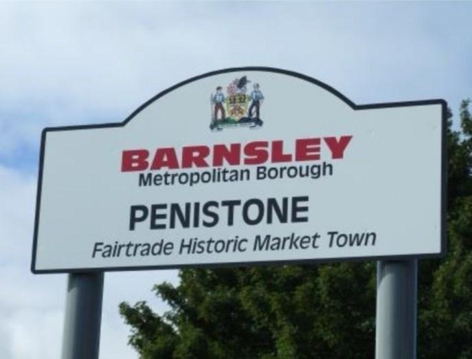 Signage - BARNSLEY Metropolitan Borough PENISTONE Fairtrade Historic Market Town