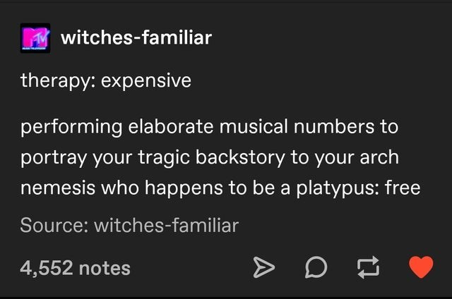 Text - witches-familiar therapy: expensive performing elaborate musical numbers to portray your tragic backstory to your arch nemesis who happens to be a platypus: free Source: witches-familiar 4,552 notes