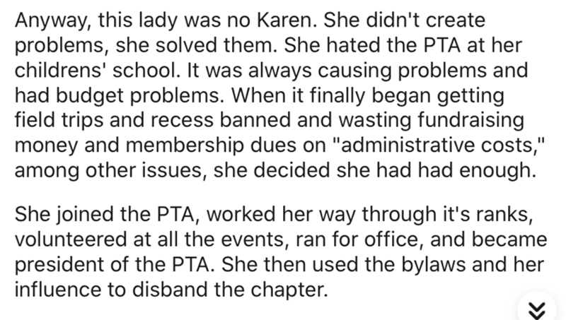 """Text - Anyway, this lady was no Karen. She didn't create problems, she solved them. She hated the PTA at her childrens' school. It was always causing problems and had budget problems. When it finally began getting field trips and recess banned and wasting fundraising money and membership dues on """"administrative costs,"""" among other issues, she decided she had had enough. She joined the PTA, worked her way through it's ranks, volunteered at all the events, ran for office, and became president of t"""