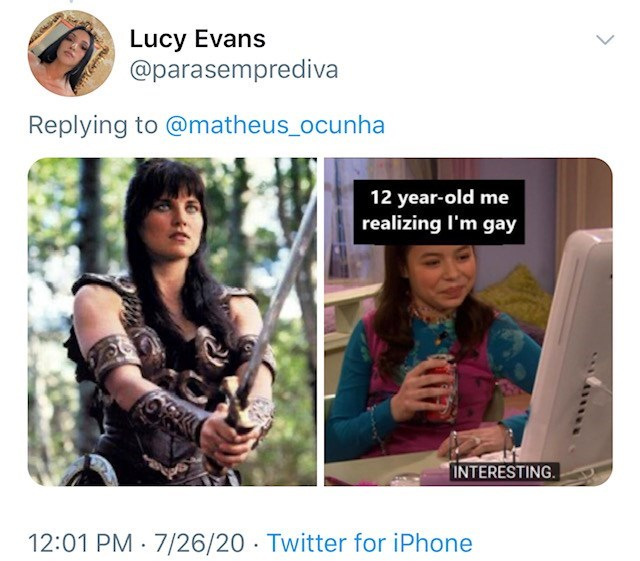 Product - Lucy Evans @parasemprediva Replying to @matheus_ocunha 12 year-old me realizing I'm gay INTERESTING. 12:01 PM · 7/26/20 · Twitter for iPhone >