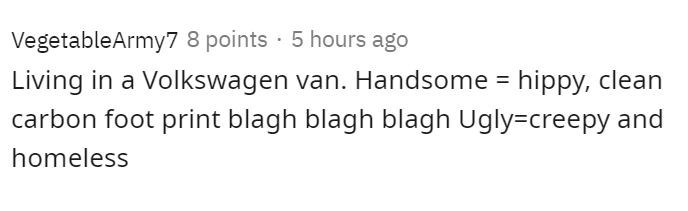 Text - VegetableArmy7 8 points · 5 hours ago Living in a Volkswagen van. Handsome = hippy, clean carbon foot print blagh blagh blagh Ugly=creepy and homeless