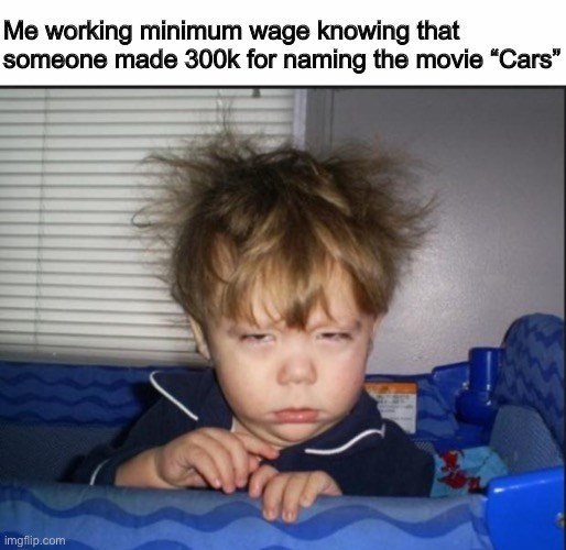 """Face - Me working minimum wage knowing that someone made 300k for naming the movie """"Cars"""" imgflip.com"""