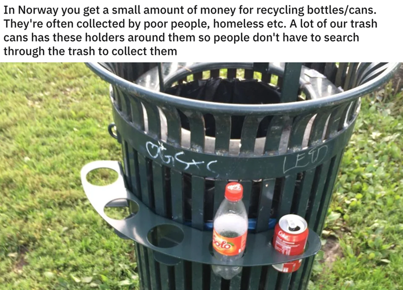 Product - In Norway you get a small amount of money for recycling bottles/cans. They're often collected by poor people, homeless etc. A lot of our trash cans has these holders around them so people don't have to search through the trash to collect them LETD Coke ట