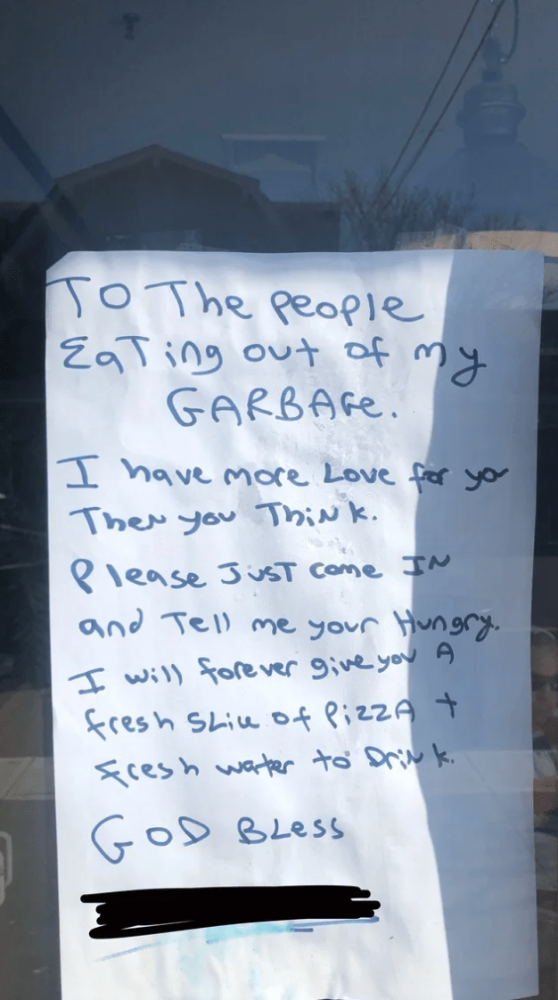 Text - TP JO The people こTing ou of my GARBAGE. I have more Love fror you Ther you ThiNk. Please JusT come IN and Tell me your Hungry. I will fore ver give you A fresh Shie of Pizza t sces h water to Driv k. GOD Bless