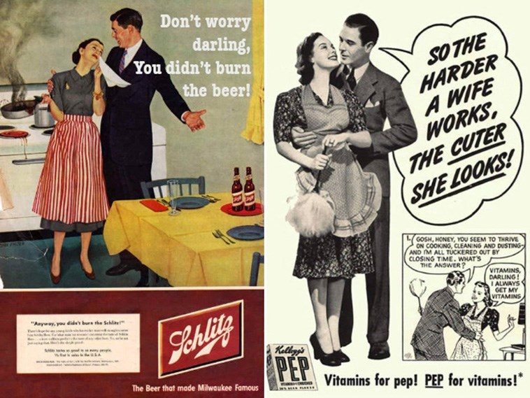 """Vintage advertisement - Don't worry darling, You didn't burn SO THE HARDER A WIFE WORKS, THE CUTER SHE LOOKS! the beer! GOSH, HONEY, YOU SEEM TO THRIVE ON COOKING, CLEAN NG AND DUSTING AND M ALL TUCKERED OUT BY CLOSING TIME. WHAT'S THE ANSWER? VITAMINS, DARLING! I ALWAYS GET MY VITAMINS """"Anyway, you did bure he Sehl Sehlity PEP Kellgg's The Beer that made Milwaukee Famous Vitamins for pep! PEP for vitamins!*"""