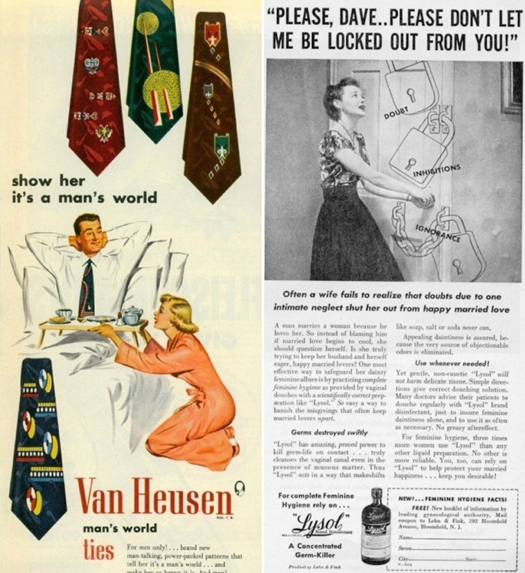"""Vintage advertisement - """"PLEASE, DAVE..PLEASE DON'T LET ME BE LOCKED OUT FROM YOU!"""" DOUBT INHJGITIONS show her it's a man's world IGNORANCE Often a wife fails to realize that doubts due to one intimate neglect shut her out from happy married love A man marries a woman because he like soap, salt or soda never can, loves her. So instead of blaming him if married love begins to cool, she should question herself. Is she truly odors is eliminated. trying to keep her husband and herself eager, happy m"""