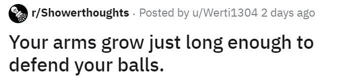 Text - r/Showerthoughts Posted by u/Werti1304 2 days ago Your arms grow just long enough to defend your balls.