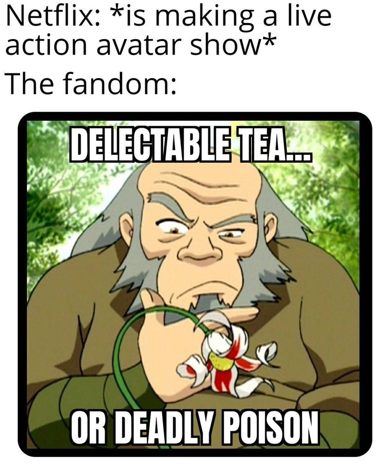 Cartoon - Netflix: *is making a live action avatar show* The fandom: DELECTABLE TEA. OR DEADLY POISON