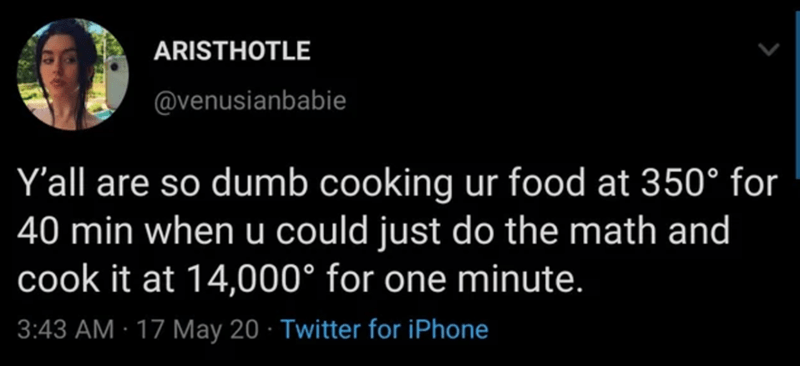 Text - ARISTHOTLE @venusianbabie Y'all are so dumb cooking ur food at 350° for 40 min when u could just do the math and cook it at 14,000° for one minute. 3:43 AM · 17 May 20 · Twitter for iPhone