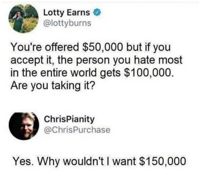 "Funny tweet that reads, ""You're offered $50,000 but if you accept it, the person you hate most in the entire world gets $100,000. Are you taking it?"" Someone replies below, ""Yes. Why wouldn't I want $150,000"""