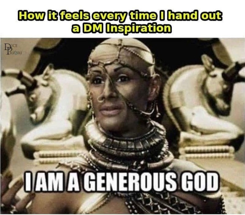 Photo caption - How it feels every time I hand out a DM Inspiration CE RIGRI IAMA GENEROUS GOD