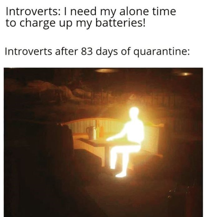 Heat - Introverts: I need my alone time to charge up my batteries! Introverts after 83 days of quarantine: