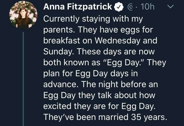 """Text - Anna Fitzpatrick @ . 10h Currently staying with my parents. They have eggs for breakfast on Wednesday and Sunday. These days are now both known as """"Egg Day."""" They plan for Egg Day days in advance. The night before an Egg Day they talk about how excited they are for Egg Day. They've been married 35 years."""