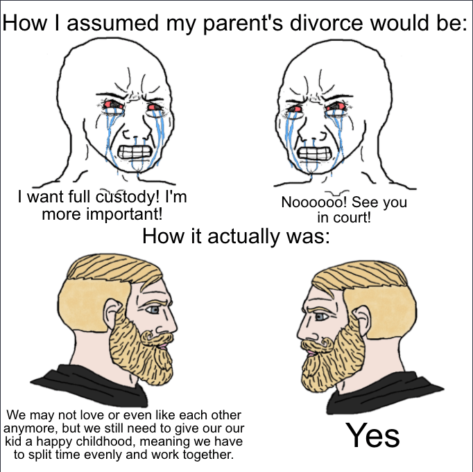 Face - |How I assumed my parent's divorce would be: I want full custody! I'm more important! Noooooo! See you in court! How it actually was: We may not love or even like each other anymore, but we still need to give our our kid a happy childhood, meaning we have to split time evenly and work together. Yes